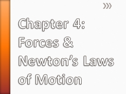 Chapter 4: Forces & Newton's Laws of Motion