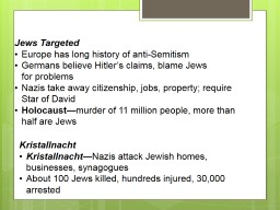 Jews Targeted PowerPoint PPT Presentation
