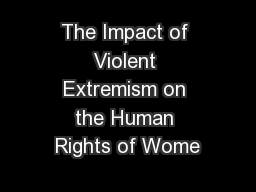 The Impact of Violent Extremism on the Human Rights of Wome