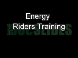 Energy Riders Training