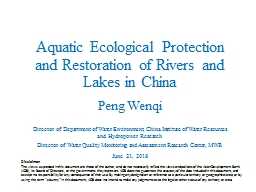 Aquatic Ecological Protection and Restoration of Rivers and