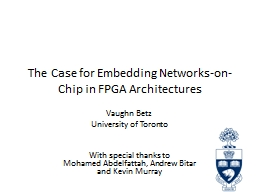 The Case for Embedding Networks-on-Chip in FPGA Architectur