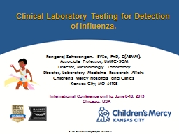 Clinical Laboratory Testing for Detection of Influenza.