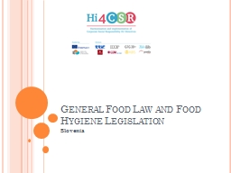 General Food Law and Food Hygiene Legislation
