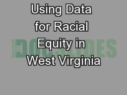 Using Data for Racial Equity in West Virginia