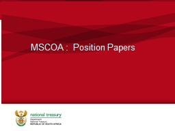 MSCOA :  Position Papers