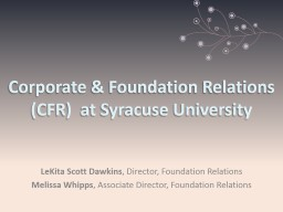 Corporate & Foundation Relations (CFR)  at Syracuse Uni PowerPoint PPT Presentation