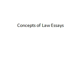 Concepts of Law Essays