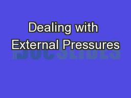 Dealing with External Pressures PowerPoint PPT Presentation