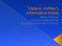 Triple A: Ashley's Alternative Areas