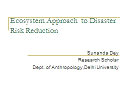 Ecosystem Approach to Disaster Risk Reduction