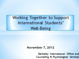 Working Together to Support International Students'