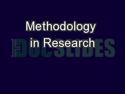 Methodology in Research