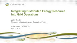 Integrating Distributed Energy Resource into Grid Operation