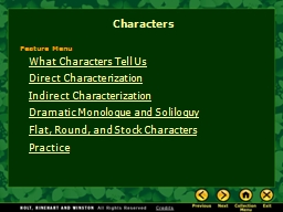 What Characters Tell Us PowerPoint PPT Presentation