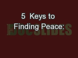 5  Keys to Finding Peace: