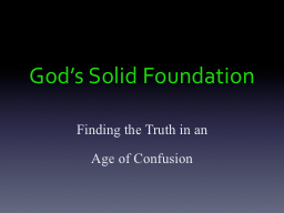 God's Solid Foundation