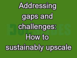 Addressing gaps and challenges: How to sustainably upscale
