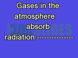 Gases in the atmosphere    absorb radiation ---------------