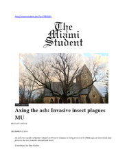 UNIVERSITY Axing the ash Invasive insect plagues MU BY