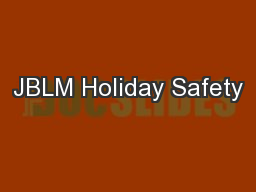 JBLM Holiday Safety