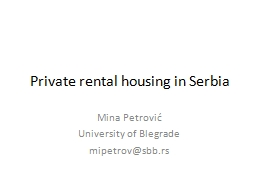 Private rental housing in Serbia