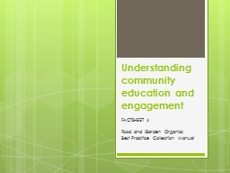 Understanding community education and engagement PowerPoint PPT Presentation