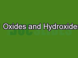 1 Oxides and Hydroxides