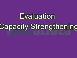 Evaluation Capacity Strengthening