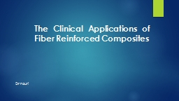 The Clinical Applications of Fiber Reinforced Composites