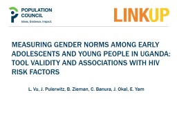 MEASURING GENDER NORMS AMONG EARLY ADOLESCENTS AND YOUNG pe