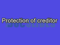 Protection of creditor
