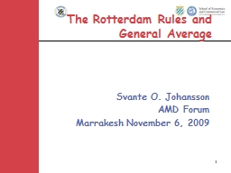 1 The Rotterdam Rules and General Average