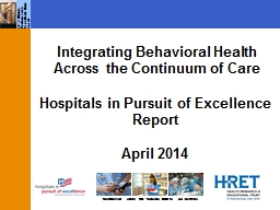 Integrating Behavioral Health Across the Continuum of Care