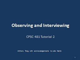 Observing and Interviewing