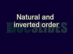 Natural and inverted order