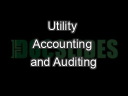 Utility Accounting and Auditing PowerPoint PPT Presentation