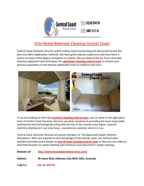 First-Rated Mattress Cleaning Central Coast