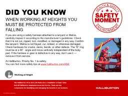 WHEN WORKING AT HEIGHTS YOU MUST BE PROTECTED FROM FALLING PowerPoint PPT Presentation