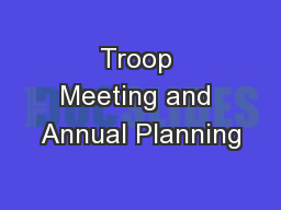 Troop Meeting and Annual Planning