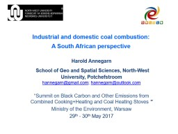 Industrial and domestic coal combustion: