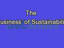 The 'Business' of Sustainability