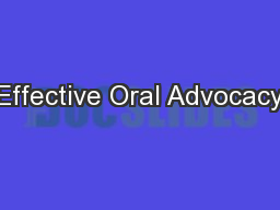 Effective Oral Advocacy