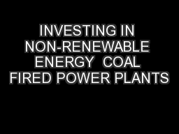 INVESTING IN NON-RENEWABLE ENERGY  COAL FIRED POWER PLANTS