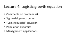 Lecture 4: Logistic growth equation