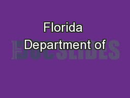 Florida Department of PowerPoint PPT Presentation