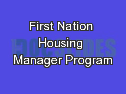 First Nation Housing Manager Program
