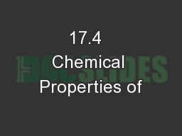 17.4  Chemical Properties of