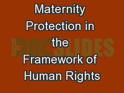 Maternity Protection in the Framework of Human Rights