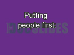 Putting people first: